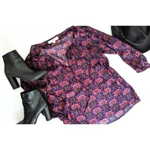 Loft Petites Purple Floral Sheer 3/4 Sleeve Blouse